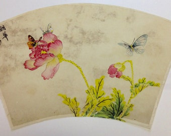 Beautiful Vintage Asian/Chinese Floral and Butterfly Painting on Silk #8 - Ships from Dallas TX