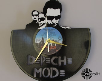 Depeche mode clock, vinyl record clock, Depeche mode, vinyl wall clock, record wall clock, vinyl clock, mancave decor