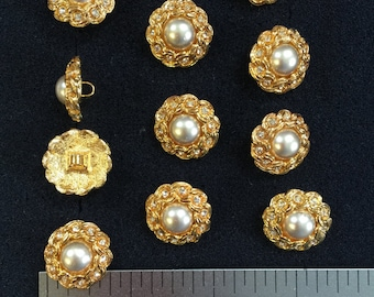 12 Vintage Pearl Buttons Gold. Czech Rhinestone Buttons. Made in Czech Republic. Size 7/8