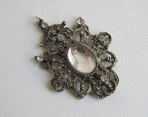 Vintage Gothic pendant, Victorian Elegant Lolita, silver colour steampunk necklace, historical re-enactment