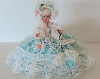 Vintage belgian doll from Brussels Belgium, Vintage doll turquoise and lace, Souvenir doll
