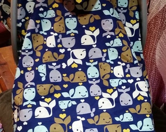 Baby whale print carseat cover