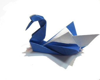 Blue Origami Swan , Paper Birds (50 count ) , Navy Blue Paper Swans
