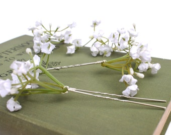 White Gypsophila Hair Pins, Wedding Hair Pins, Bridal Hair Accessories, Bridesmaid Hair Pins, Babys Breath Hair Pins