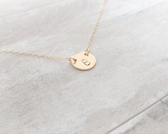 Simple Initial Disc Necklace in Gold Filled
