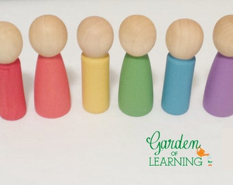 Wooden Dolls set of 6 inspired by Waldorf and Montessori