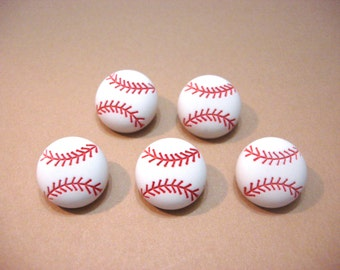 "Baseball Buttons White 3/4"" Buttons Galore Baseball Set of 5 Shank Back - 883 A"