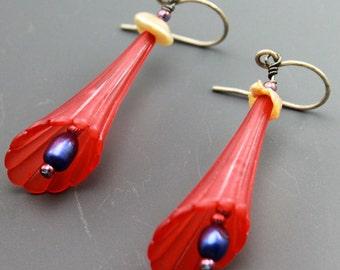 Art Nouveau Earrings, Fantasy Earrings, Trumpet Flower Earrings, #187-114