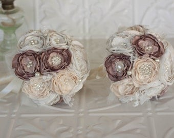 Fabric and Brooch Wedding Bouquet, set of two Cream, Dusty Pink and Ivory satin, chiffon and Lace Bridesmaids Bouquets, vintage inspired