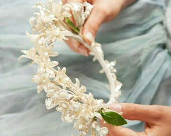Antique French Wax Flower Crown