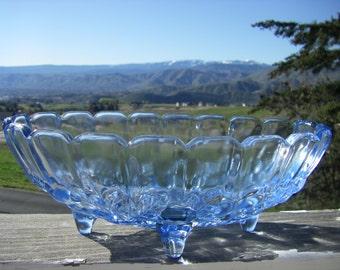 "Indiana Glass 'Garland - Light Blue' Centerpiece Bowl, Embossed Fruit Pattern, 12-1/4"" x 8-1/2"" x 5"""