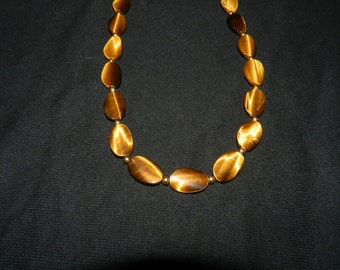 Tiger Eye and Gold Necklace