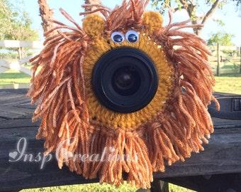 Crochet Lion Buddy Lens, Lion Buddy Lens, Lion, Camera Buddy Lens