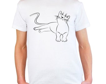 Mens & Womens T-Shirt with Cute Cat Design / Funny Kitty Shirts / Smiling Relaxed Kitten Shirt / Relaxing Cats + Free Random Decal Gift