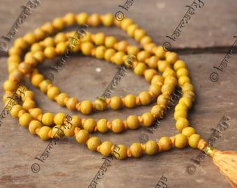 Haldi Turmeric Japa Mala Rosary 108 +1 Beads Yoga Hindu Prayer Meditation Mantra    ML0005