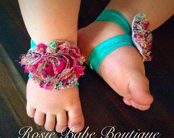 NB-12month Teal / Pink Floral Barefoot Sandal
