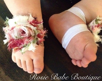 Barefoot sandals; baby barefoot sandals; white vintage floral sandal; toddler barefoot sandal; sandal