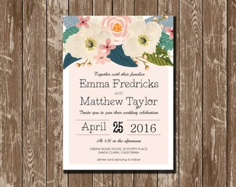 Whimsical Floral Wedding Invitation