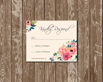 Printable Floral Wedding Invitation Pink and Blue Floral Wedding Invitation