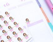 30 African American Yoga Girl Stickers ! Perfect for your Erin Condren Life Planner, Filofax, Kikkik, Plum Paper, planner! #SQ00652