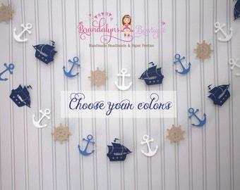 Nautical paper Garland, anchor garland, Ship garland, pirate garland Photo Prop, Nursery decor, playroom decor,or you can CHOOSE YOUR COLORS