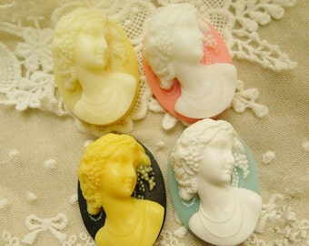 5pcs Mixed Colors Vintage Resin 3D Elegant Lady Cabochons Cameo,DIY Jewelry Sweater Chain Accessories,30MMx40MM