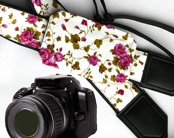 Flowers Camera strap with pocket.  Roses camera strap.  DSLR / SLR Camera Strap. Camera accessories.
