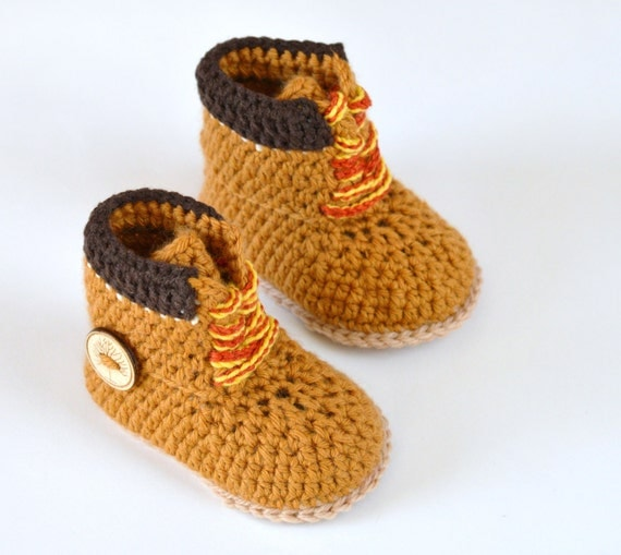 Free Crochet Pattern For Baby Construction Boots : Crochet PATTERN boots for baby boys fall booties by ...