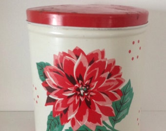 Red dahlia canister