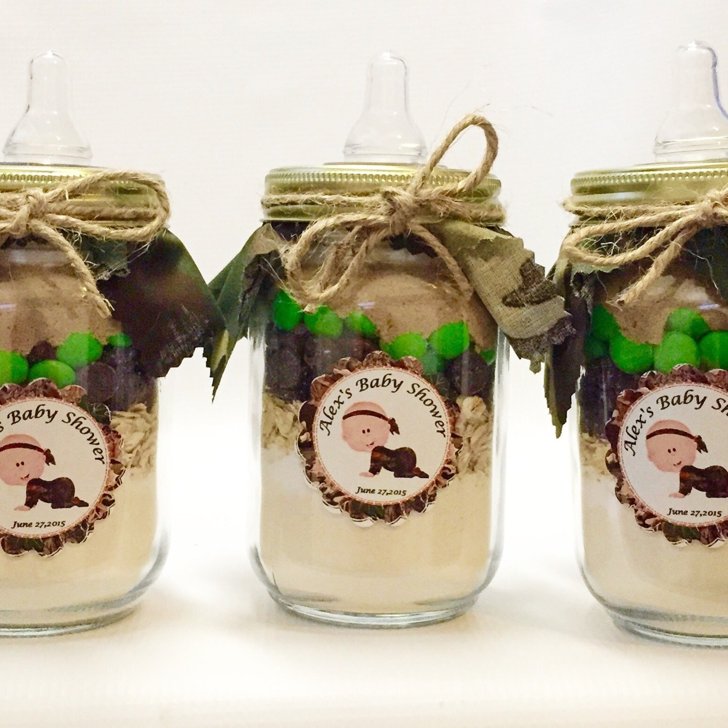 Camo Pint Size Mason Jar Gourmet Cookie Mixes Baby Shower