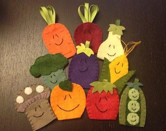 Veggie Finger Puppets, Vegetable Finger Puppets, Felt Finger Puppets, Finger Puppets, Food Finger Puppets
