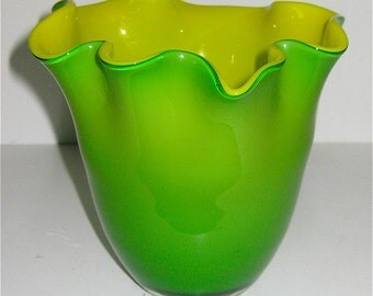 Vase/Bowls/ Vintage 70s Hand Blown Glass/ Green and Yellow