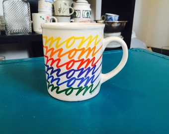 Excellent Mug featuring 'Mom' in Rainbow