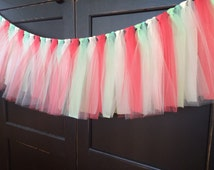 Coral and Mint Tutu Rag Tie Fringe Garland, Bunting, Banner, Swag, Backdrop, Streamer, Photo Prop, Cake Smash in Tulle and Fabric