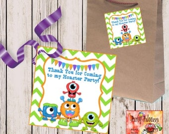 printable  thank you monster birthday tag/little monster