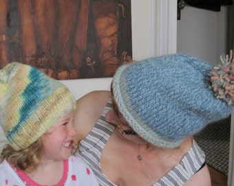 Adorable, bright toddler hat in yellows and blues