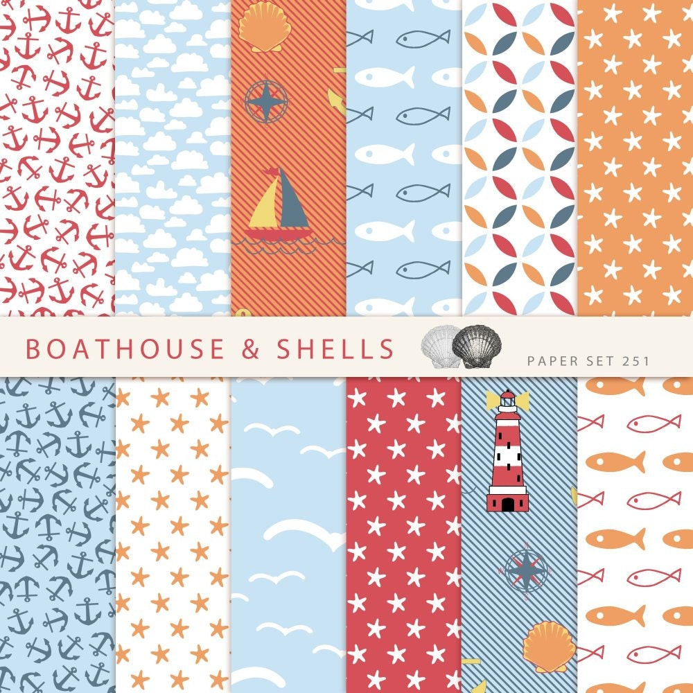 colorful nautical mix scrapbooking digital paper pack 12 digital paper with fish anchor boat. Black Bedroom Furniture Sets. Home Design Ideas
