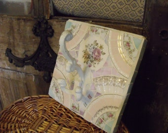 Romantic vintage china and stained glass decorative hook in ivory, pinks and light green