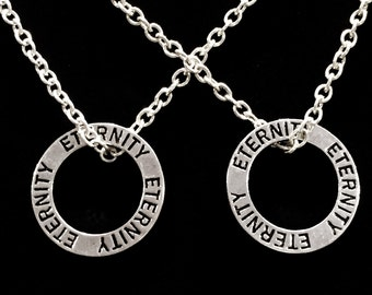 2 Necklaces Eternity Affirmation His And Hers Couple's Necklace Set