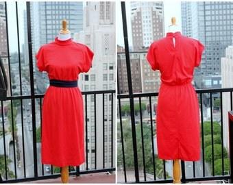 Vtg Red midi dress high neck