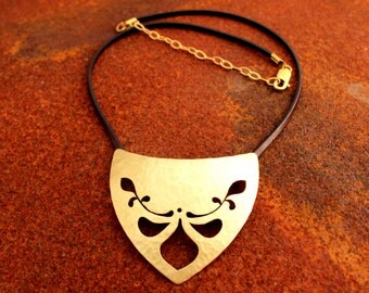 Leaves Desing  Medieval Hammered Brass Necklace Hand Sawed Necklace Medieval Jewelry Pectoral Necklace Gold Metal Handmade Collar