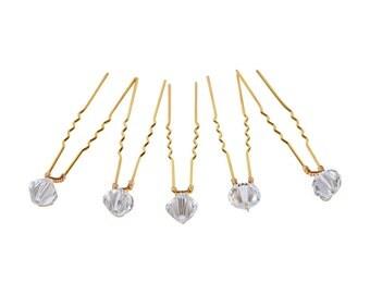 Gold Plated Crystal Hair Pins