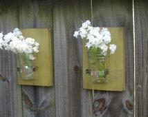 Set of 2 Mason Jar Wall Sconces, Mason Jar Wall Decor, Mason Jar Wall Vase