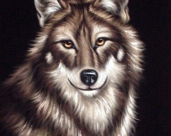 Gray wolf wild animal black velvet oil painting handpainted signed art