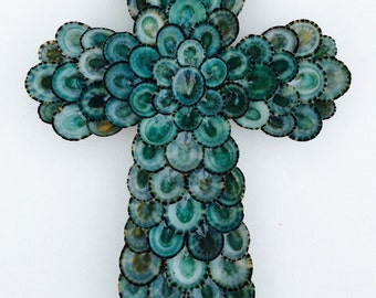 Cross, Seashell Cross, Sea Shell Cross, Shell Cross, Wall Cross, Crucifix, Turquoise Cross, Limpet Cross