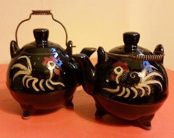 Vintage Black Kittel Rooster Salt and Pepper Shakers