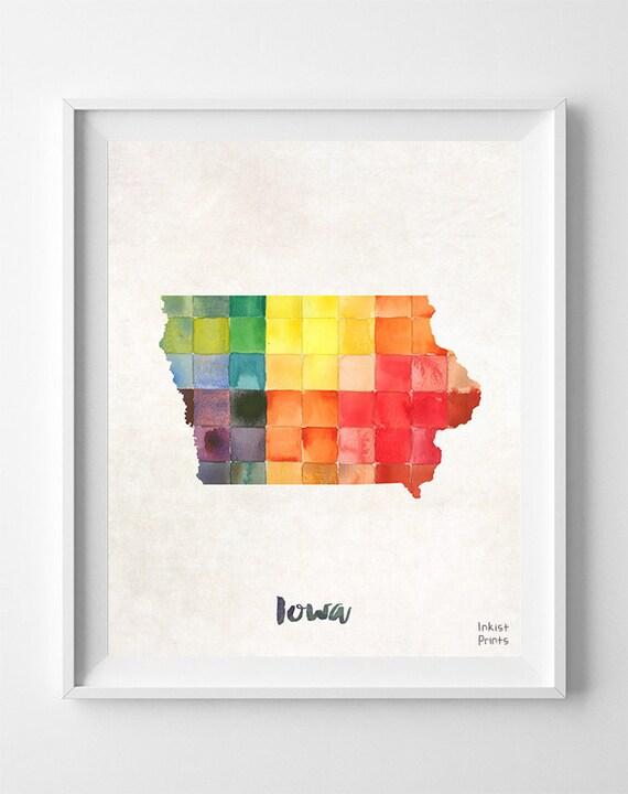 Iowa Map Des Moines Print Iowa Poster Map Art Wall Decor