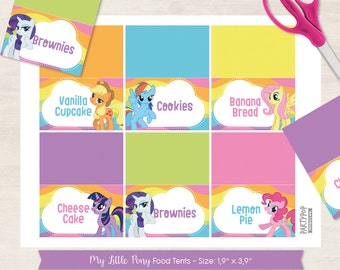 Personalized My Little Pony food label tent (digital file)