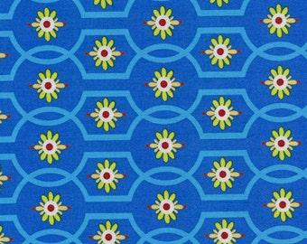 Gypsy Bandana Moonflower Michael Miller Cotton Fabric DC4615 Blue, By the Yard