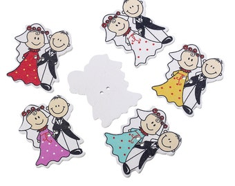 Wooden Bride & Groom Wedding Design Sewing Buttons. 4cm. Ideal for Wedding Favours. Scrapbook and Crafts